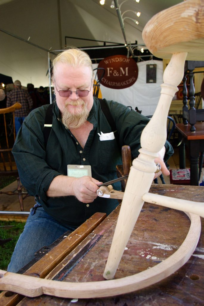 chair-making demonstration, Woodstock-New Platz Art & Crafts Fair
