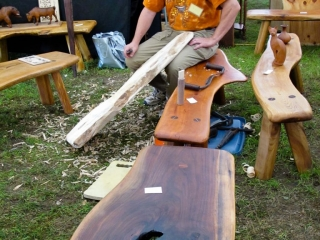 wood bench and table making demonstration, Woodstock-New Platz Art & Crafts Fair