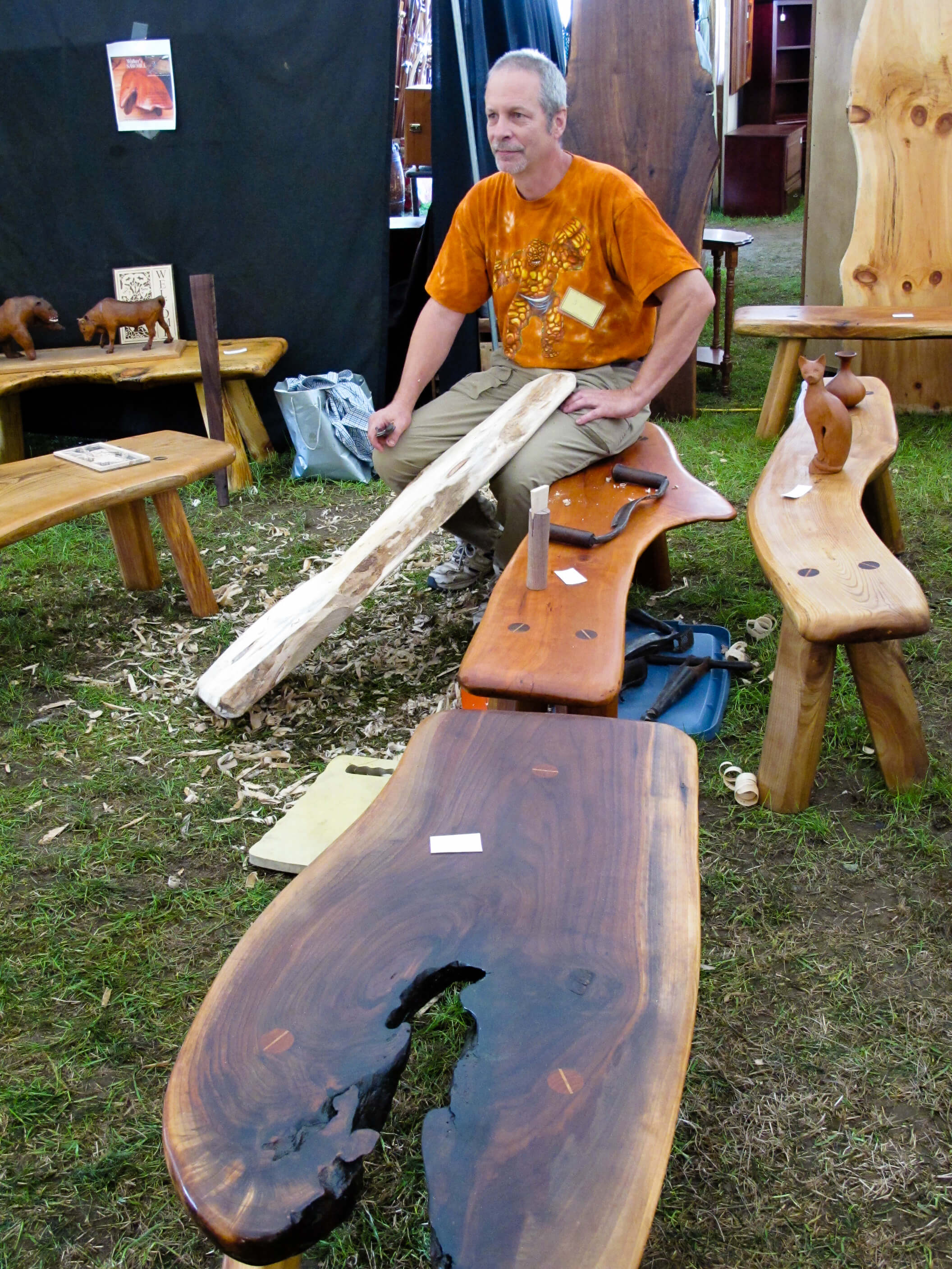 Handmade bench and table demonstration at the Woodstock-New Paltz Art & Crafts Fair