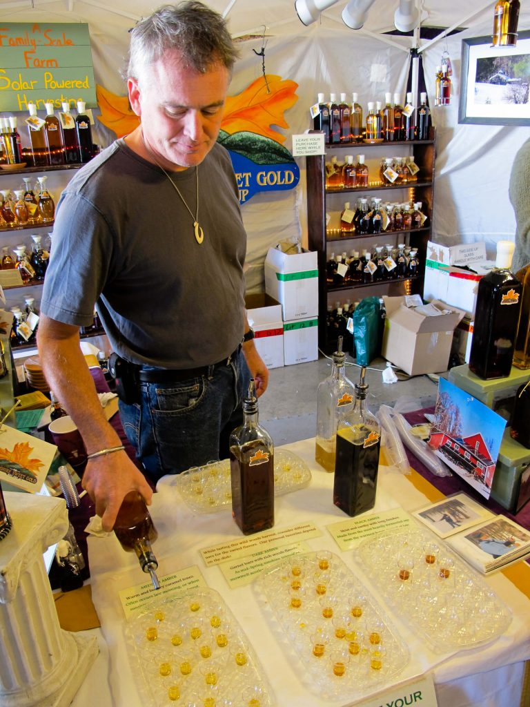 Vermont Maple Syrup tasting at the Woodstock-New Platz Art & Crafts Fair
