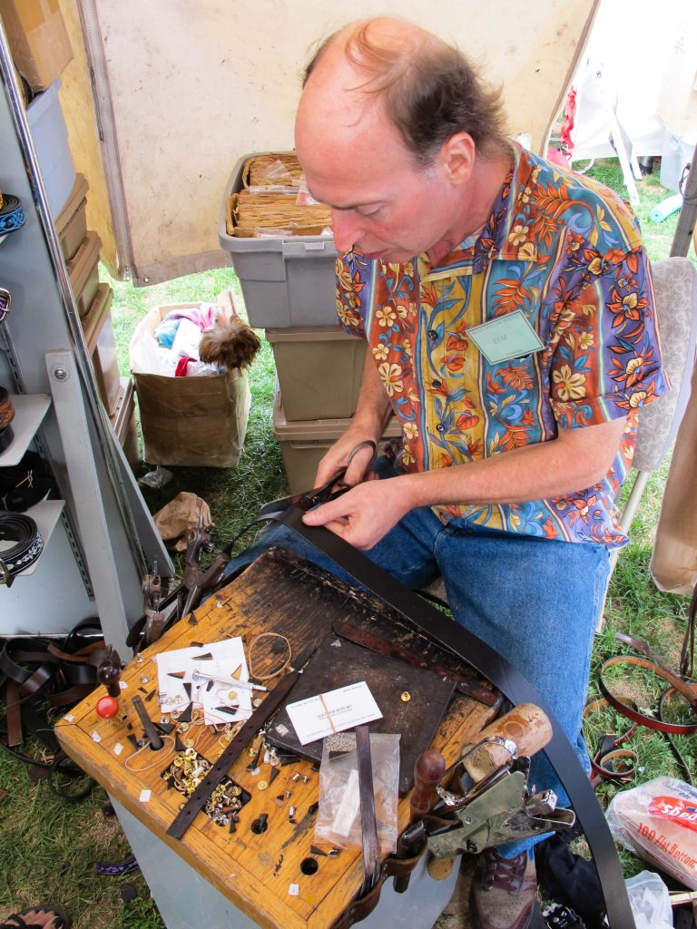 leather belt-making demonstration, Woodstock-New Platz Art & Crafts Fair
