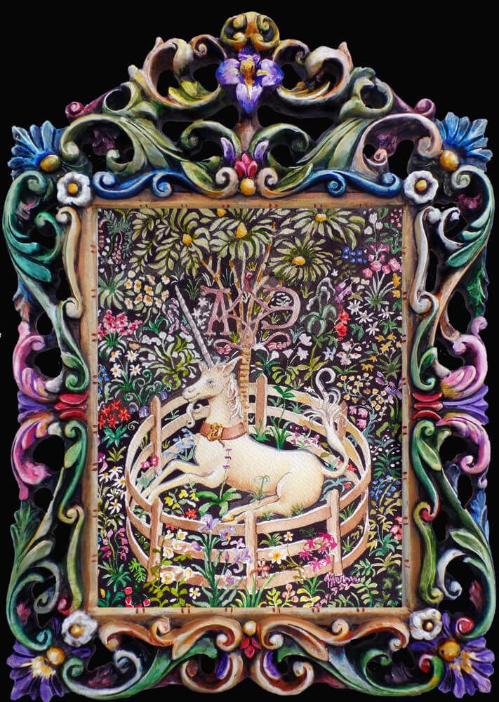 Mernie Buchanan, Unicorn in Captivity, Fine Art Painting, Woodstock-New Paltz Art & Crafts Fair