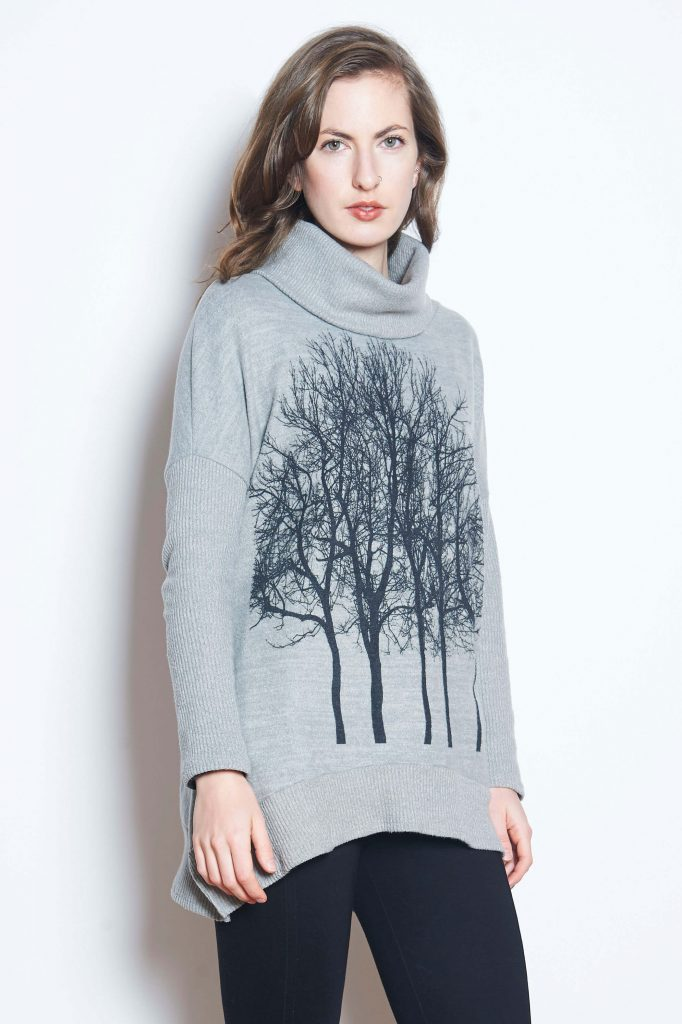 handprinted sweater, trees, woodstock-new paltz art & crafts fair
