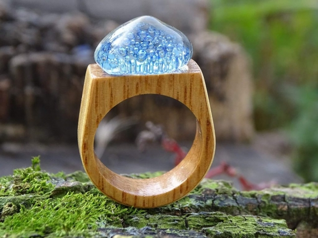Glass and Wood Ring handmade jewelry Woodstock New Paltz Art and Crafts Fair