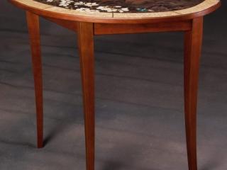 Jeff Nelson, Hummingbird Blossom Demi Lune Table Woodwork, Woodstock-New Paltz Art & Crafts Fair