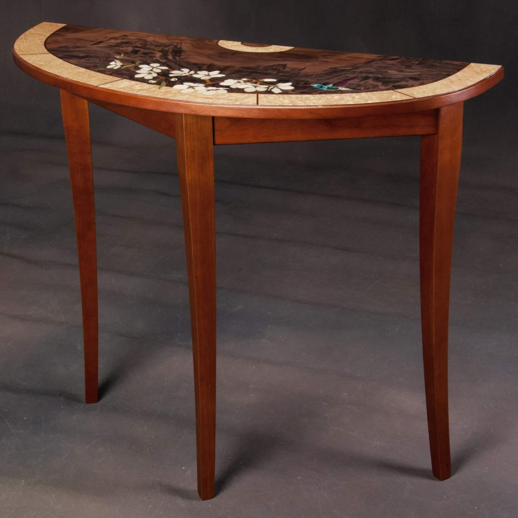 Jeff Nelson, Hummingbird Blossom Demi Lune Table Woodwork, Woodstock-New Paltz Art & Crafts Fair