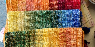 Firecrow Handwovens, Kathy Litchfield, Fiber, chenille scarves