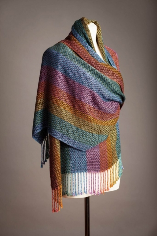 Firecrow Handwovens, Kathy Litchfield, Fiber, sunset shawl in rayon