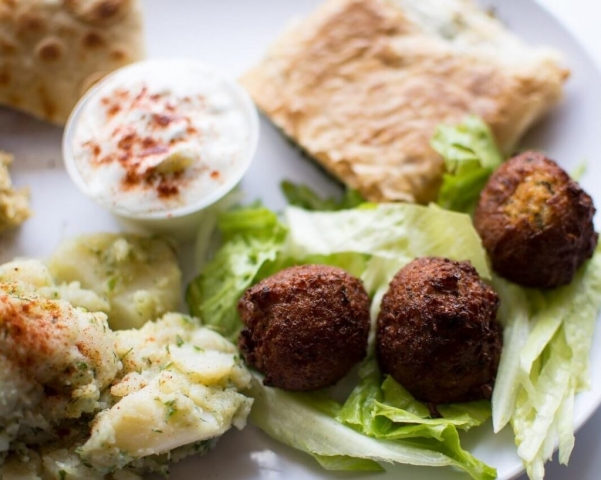 Delicious middle eastern cuisine -- from falafels and gyros to koshari, moussaka, spanakopita and pierogies at the Woodstock New Paltz Art and Crafts Fair