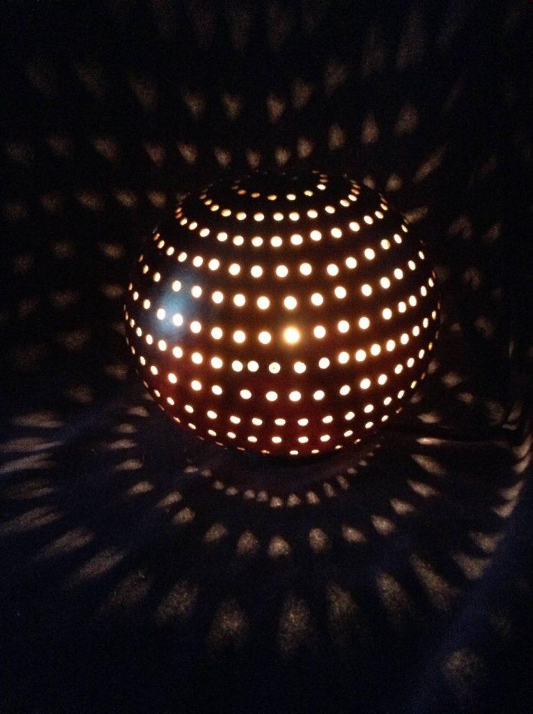 LKreations by Linda Keech, Gourd Art: Patterned Light Gourd