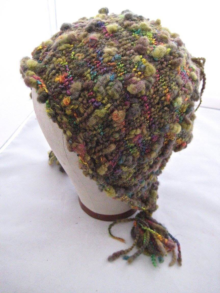 Karen Lloyd, Ulster County Handspinners Guild, 1 Hand knit wool acrylic bonnet, Woodstock-New Paltz Art & Crafts Fair