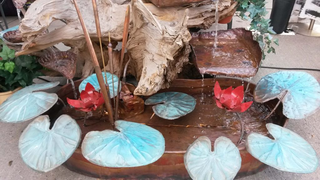 Macklin's Sculpture, Copper and Cedar Root Wood Fountain, Woodstock-New Paltz Art & Crafts Fair