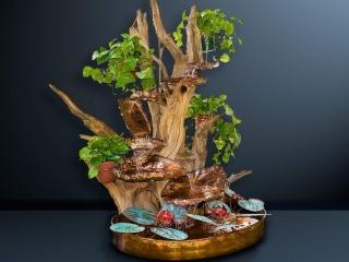 Macklin's Sculpture, Copper and Cedar Root Wood Fountain, Woodstock-New Paltz Art & Crafts Fair