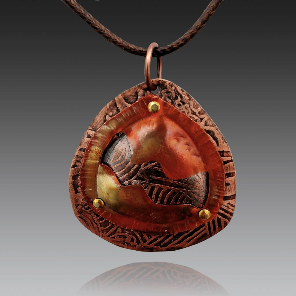 Robin Miller Artisan Jewelry, etched copper talisman, Woodstock-new paltz art & crafts fair