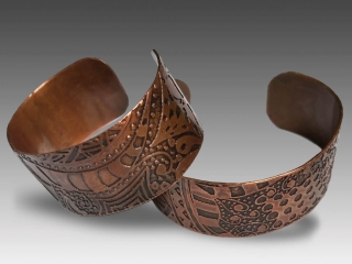 Robin Miller Artisan Jewelry, etched copper cuffs, Woodstock-new paltz art & crafts fair