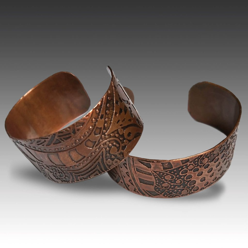 Robin Miller Artisan Jewelry, etched copper cuffs, Woodstock-new paltz art & crafts fair