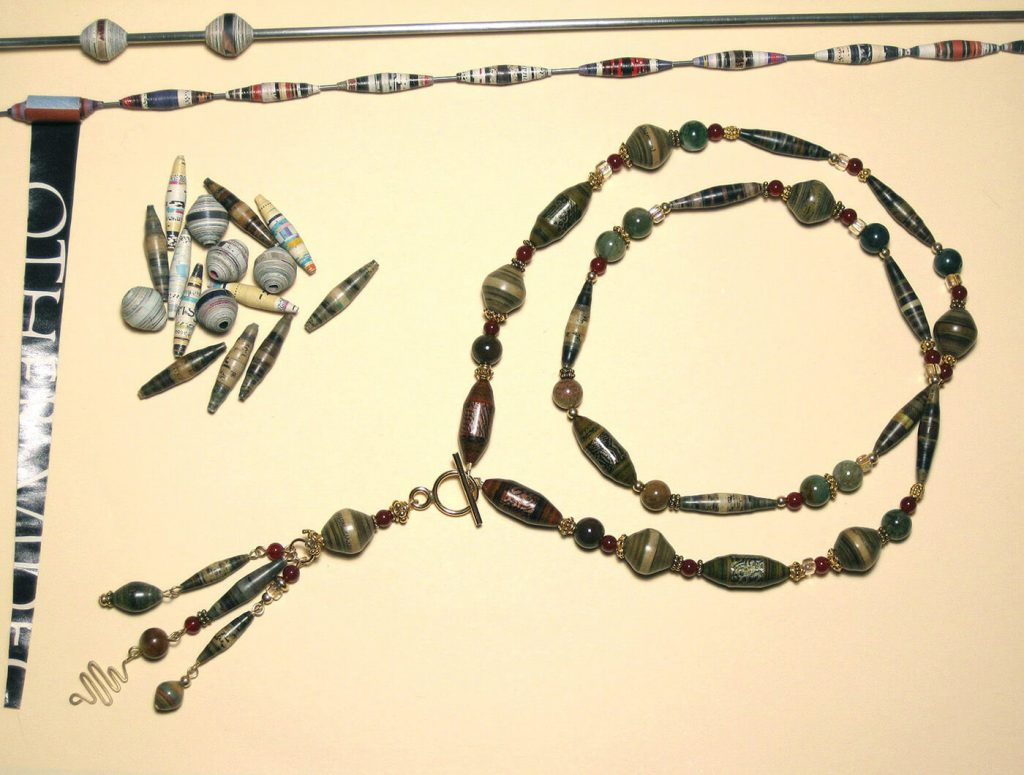 Paper Bead Lady Jewelry by Louisa Kim (made with beads hand-rolled from old magazine paper)