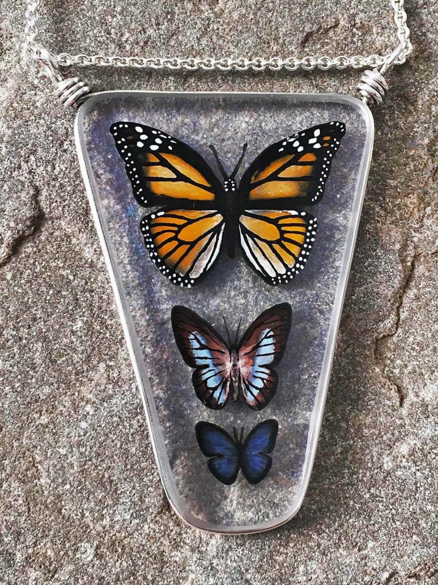 Weathered Heather by Heather Bivens: Butterfly Collection, handcrafted jewelry glass art, nature preserved