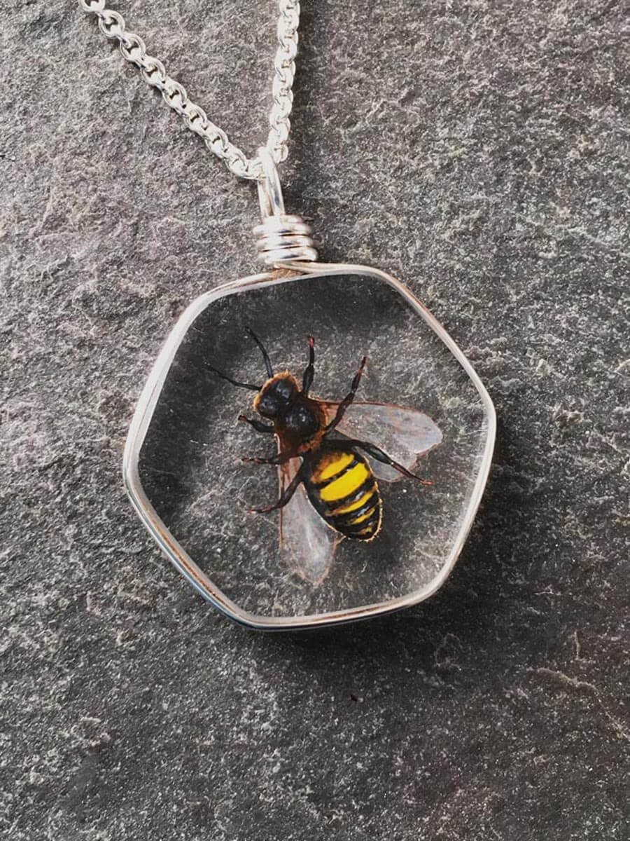 Weathered Heather by Heather Bivens: Honey Bee, handcrafted jewelry glass art, nature preserved