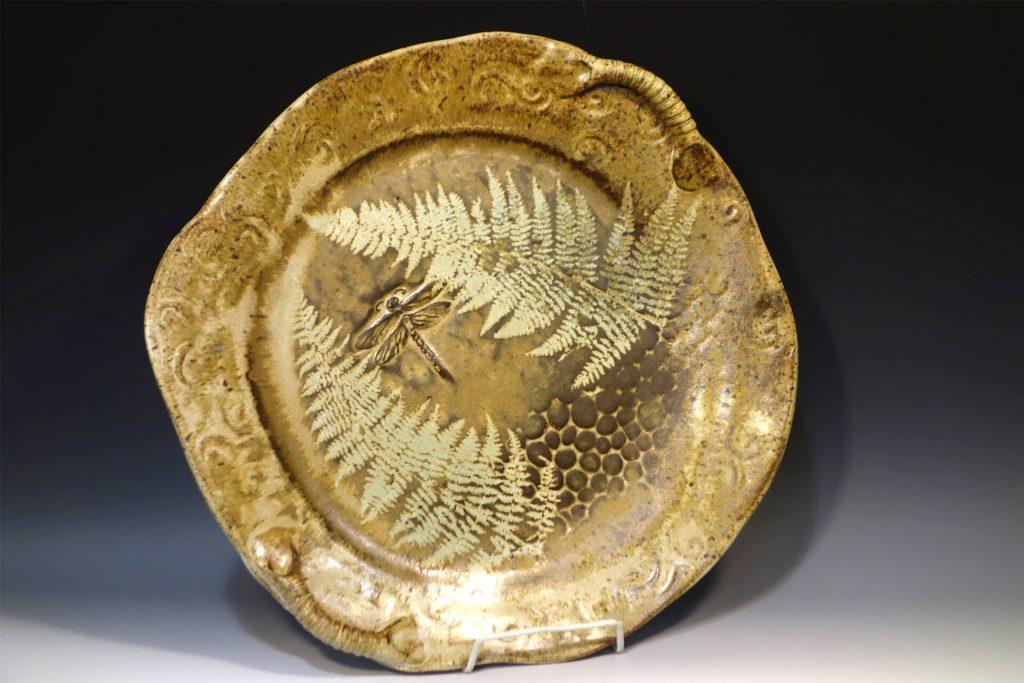 Pistachio Potter by Eileen & Paul Niejadlik, handmade platter, stoneware clay, glaze