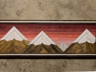 Forested Way by Brian Frerichs: Sunset Range, handmade woodwork, reclaimed wood, shelves, landscapes, woodscapes