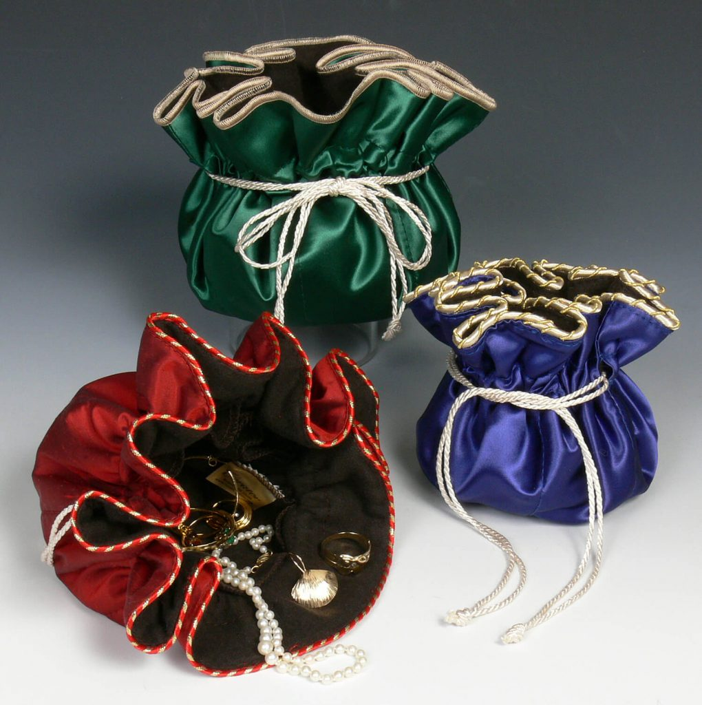 "Curator by Bronia Jenson: ""Jewelry SaQ pouches"", fiber art, handmade toiletry bags"