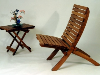 Heartwood Furniture by Daniel Gomes: Cherry Folding Butterfly Table, handmade furniture, cherry bench table