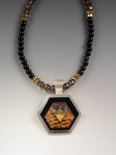 Helen Hosking, Hexagon Pendant, handmade jewelry, gold, cloisonne and champleve enamel on smokie quartz and onyx beads