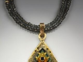 Helen Hosking, Textured Diamond Pendant, 18kgold and 24kgold, on blue quartz, handmade jewelry