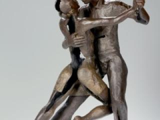 Helen Hosking, The Tango Bronze on marble, bronze sculpture, handmade, dancing sculpture
