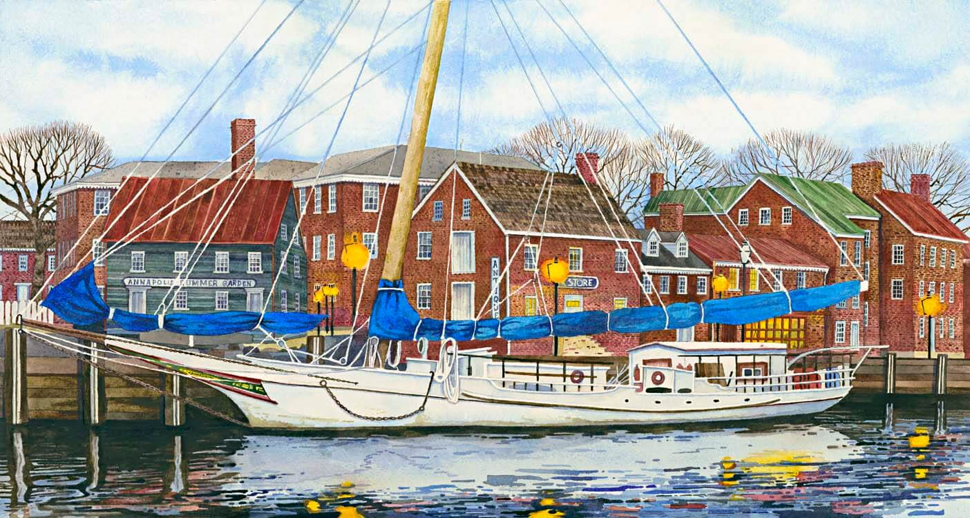 John Stevens Watercolors: Annapolis Skip Jack, handmade watercolor painting, boat, buildings