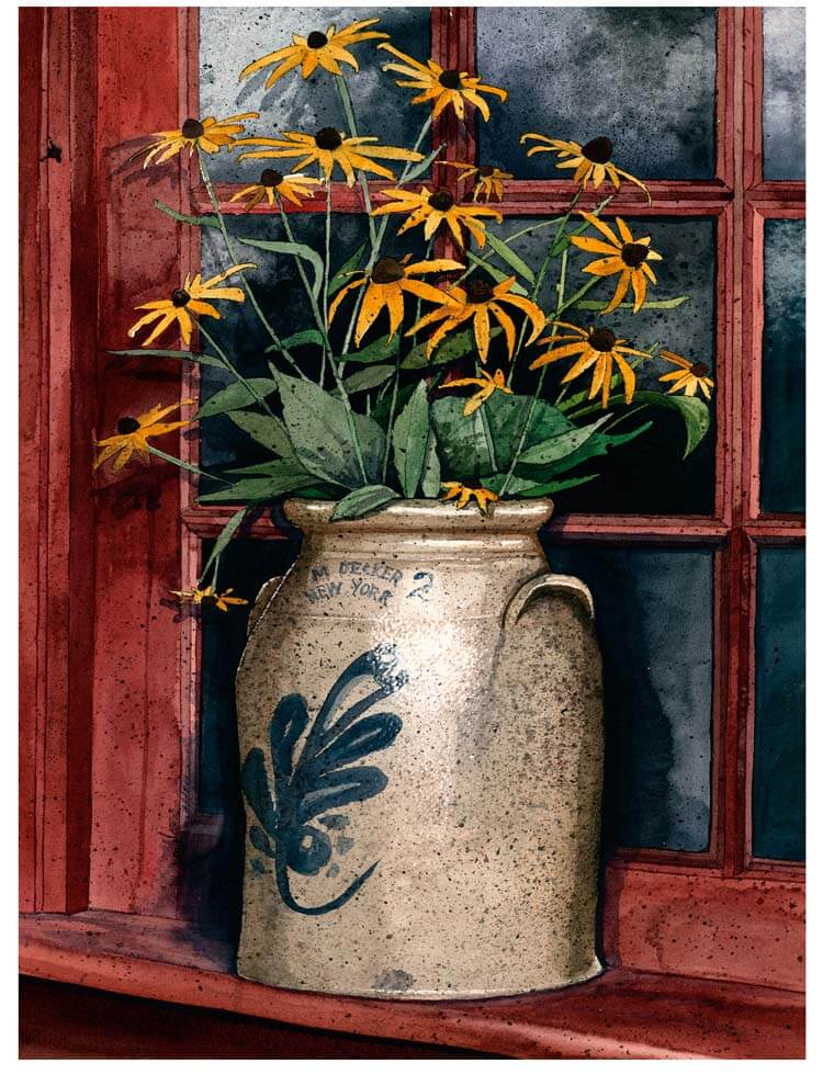 John Stevens Watercolors: Summer Susans, watercolor painting, handmade art, black-eyed susans