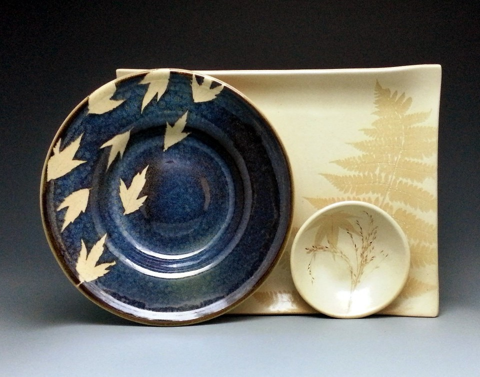Kaleidoscope Pottery by Evelyn Snyder, handmade dinner set, fall leaves, glaze
