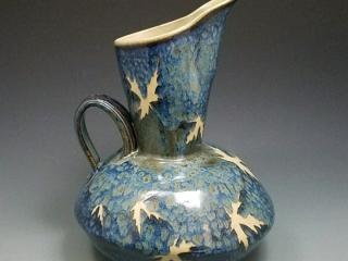 Kaleidoscope Pottery by Evelyn Snyder, handmade pitcher, fall leaves, glaze