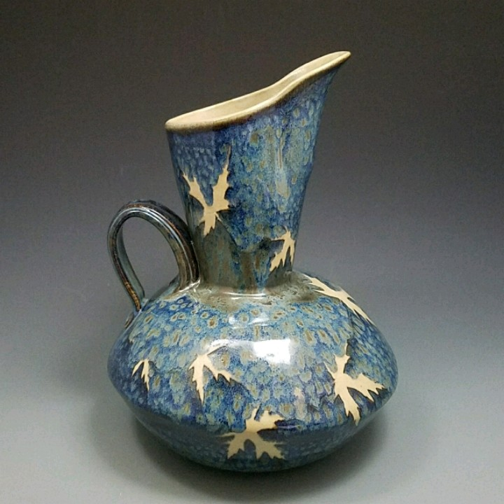 Kaleidoscope Pottery by Evelyn Snyder, handmade pitcher, fall leaves, glaze
