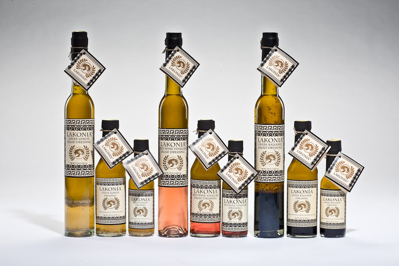 Lakonia Greek Products: DÁFNI Authentic Greek Drizzling EVOO, Lemon Red Wine Vinegar & Balsamic Garlic, handmade specialty Greek products