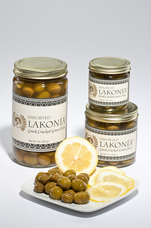 Lakonia Greek Products: Greek Cracked Green Olives, handmade