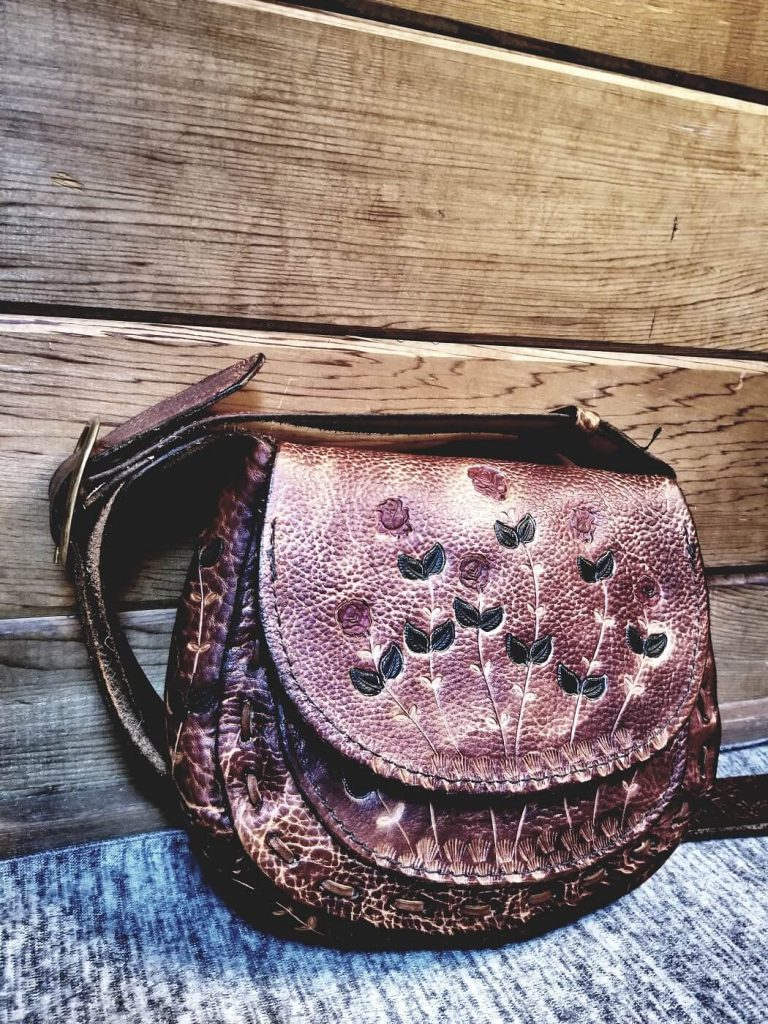 Leather and Lace by Joe Maurice: La Vie En Roses Collection, Compact Satchel, handcrafted leather accessories