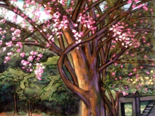 Art Feeds Hunger: Lewis Testa, fine art oil painting of trees, motorcycle, spring blossoms
