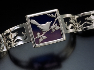 Lightwing , Design by Shawn & Ann Lester, Kaleidoscope, hand fabricated and cut sterling and glass jewelry