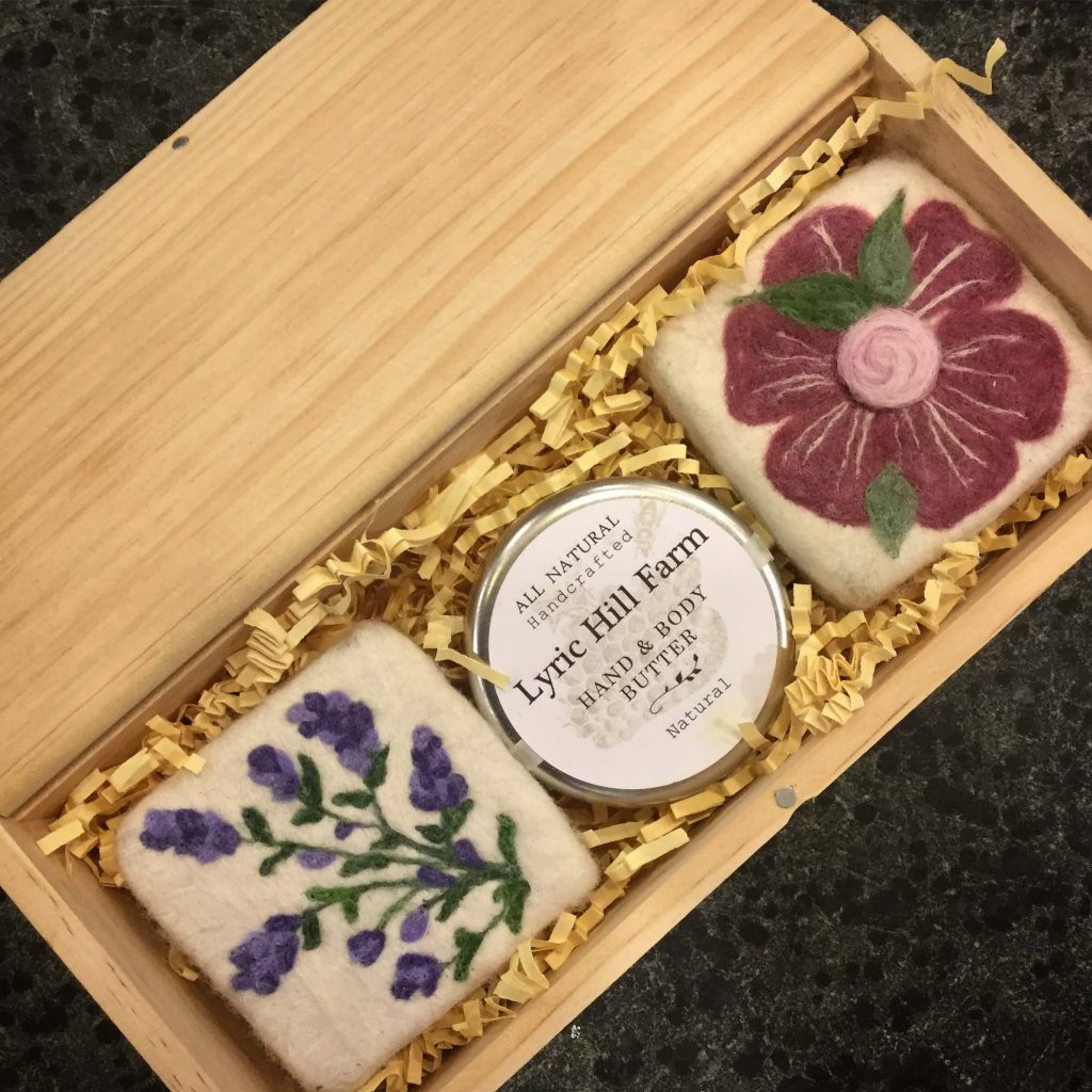 Lyric Hill Farm: Wet Felted Soaps & Hand/Body Butter, Nancy Butler, Hand Crafted goat milk soaps, bath and body products, hand knit linen washcloths, needle and wet felted soaps.