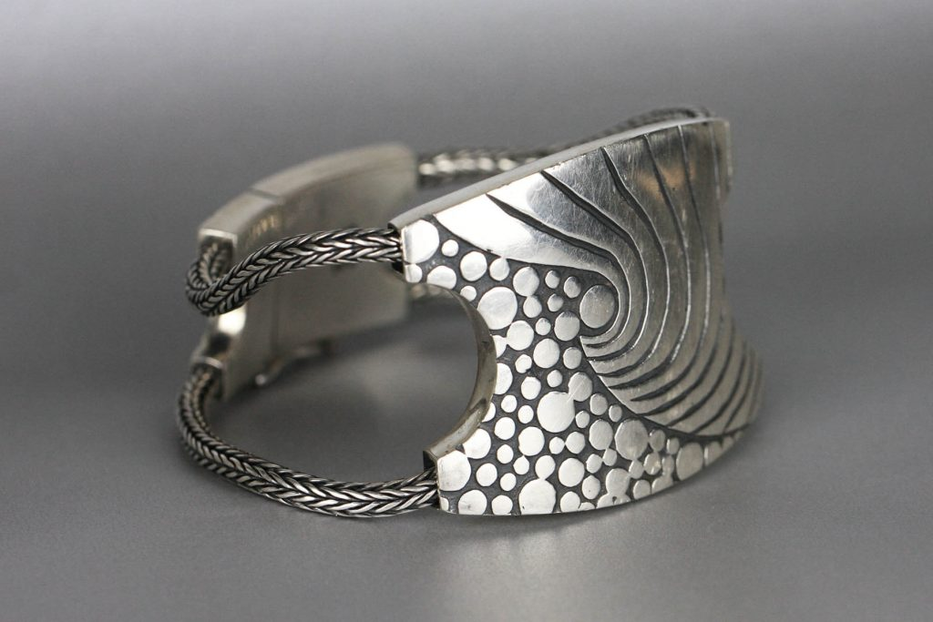 ANNI MALIKI: Foam Bracelet handcrafted jewelry, metalsmith, metalwork, nature inspired jewelry, art show