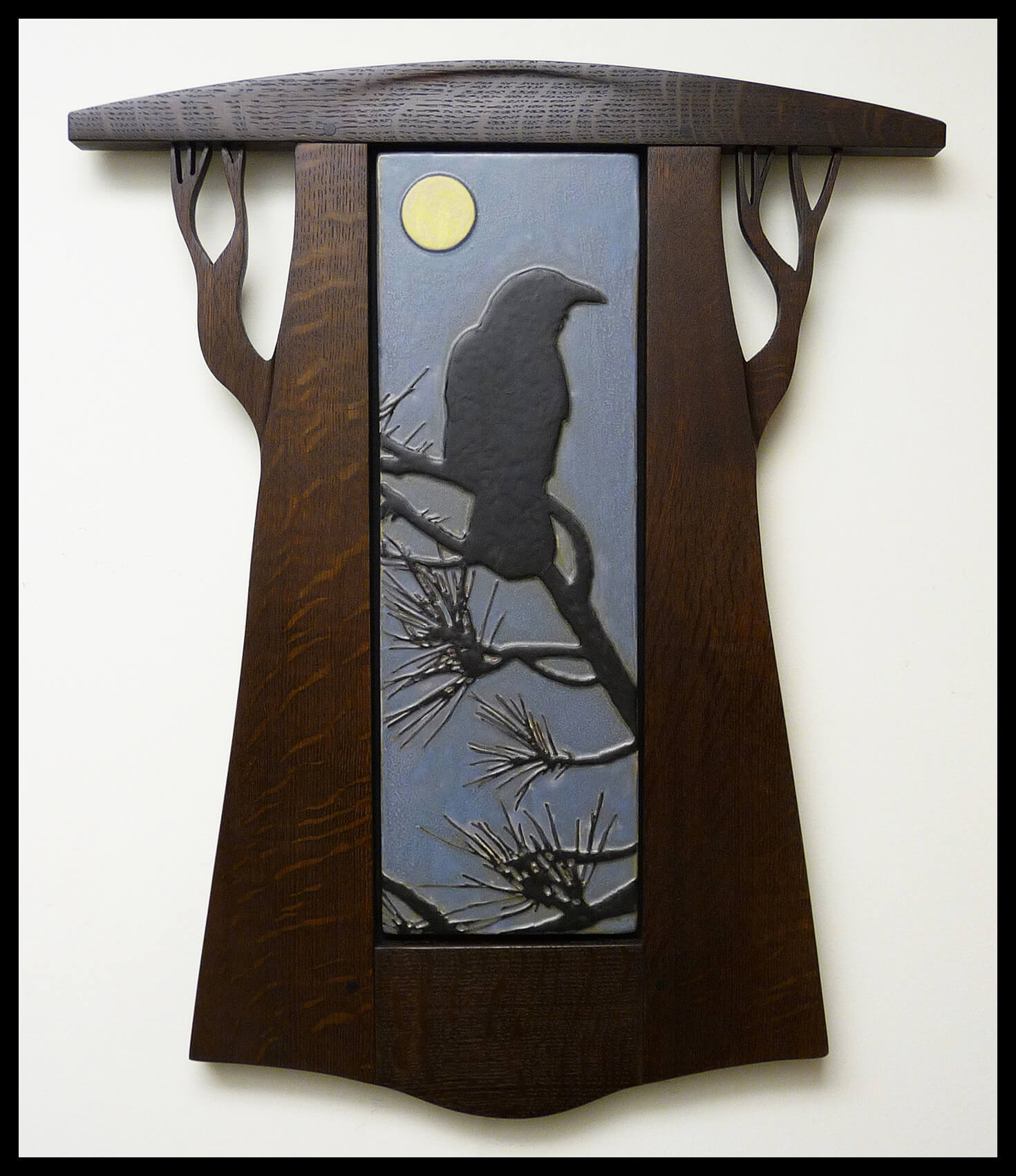 "Mission Guild Studio, ""Crow in Pines with Harvest Moon"", framed wall tile set, handmade red clay"