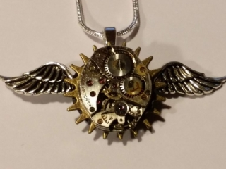 """Manning Creations by Lynne Manning, """"I Love You"""" Necklace, Steampunk Jewelry"""