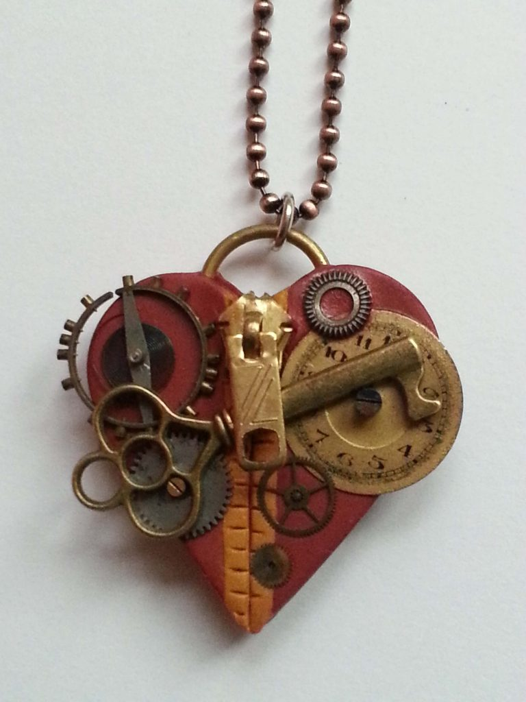 "Manning Creations by Lynne Manning, ""I Love You"" Necklace, Steampunk Jewelry"
