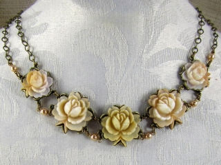 Fleurs Jolies by Maya Branman, authentic cellulose flowers from the 1950's, pewter, hand-carved, handmade jewelry