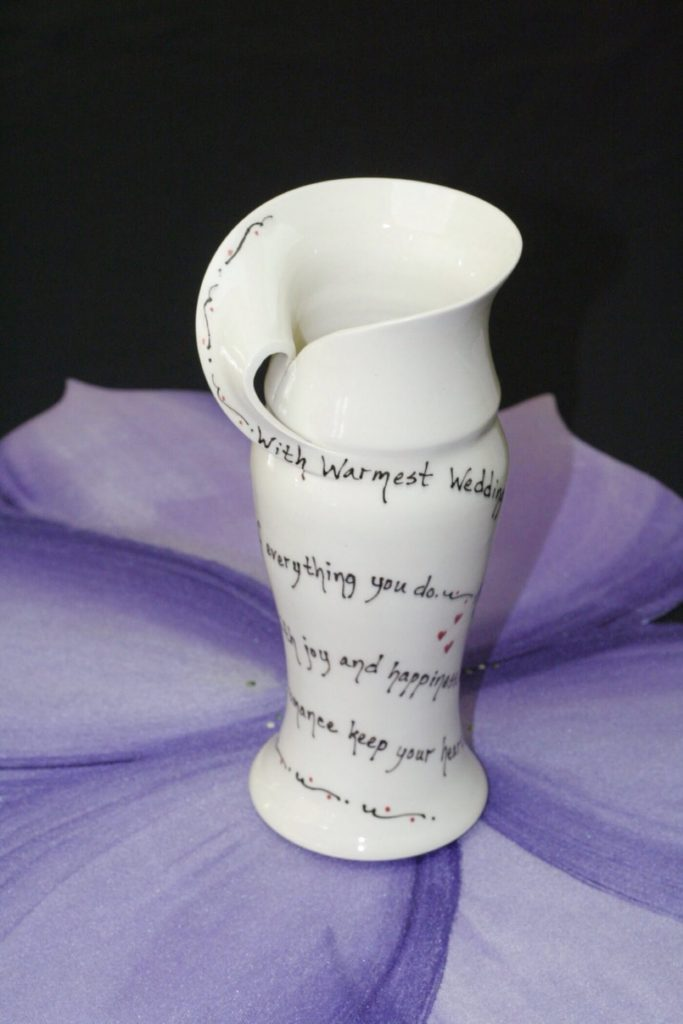 Pottery Mountain by Lesley Reich, Folded Wedding Vase, hand-thrown, handmade ceramics