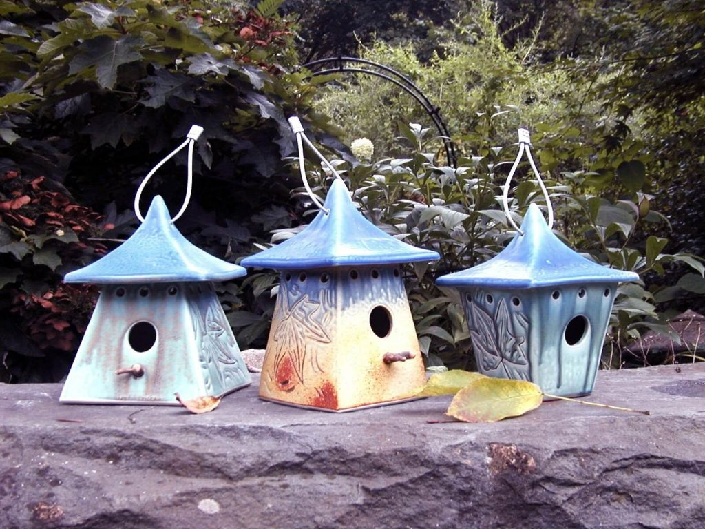 hand-built, high-fired, stoneware, Stephen Fabrico Designs, handmade birdhouses