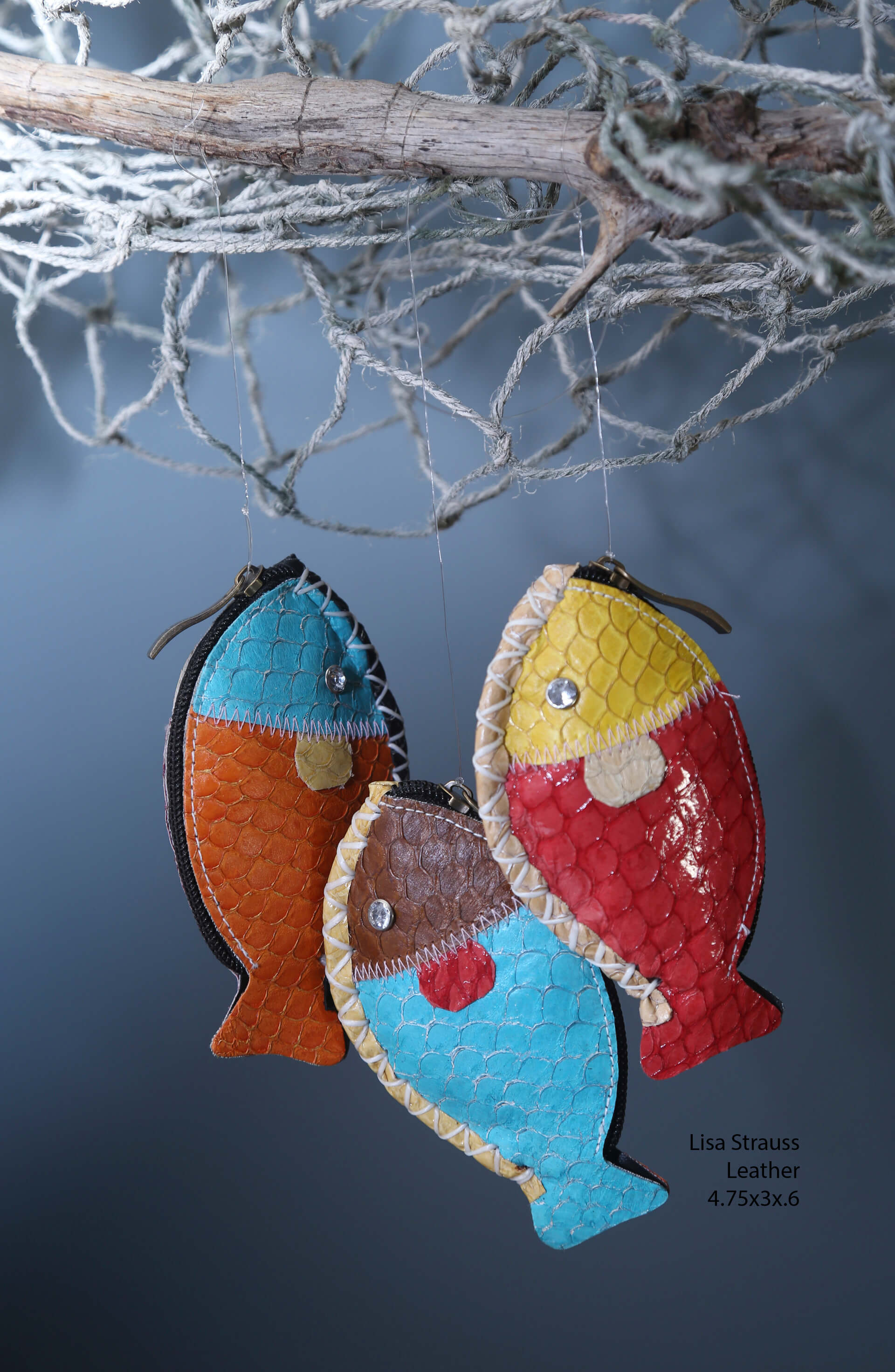 Col de Mar Sea Leather Accessories by Lisa Strauss, handcrafted leather fish coin purse