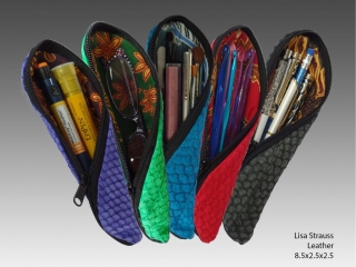 Col de Mar Sea Leather Accessories by Lisa Strauss, handcrafted leather pencil and eyeglass holders multi-colors